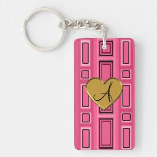 Pink retro squares monogram rectangular acrylic key chains