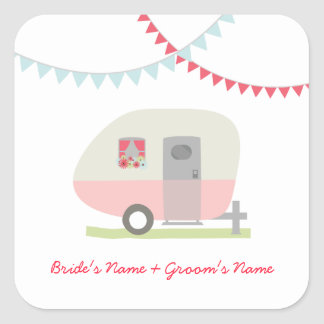Pink Retro Trailer Wedding Sticker