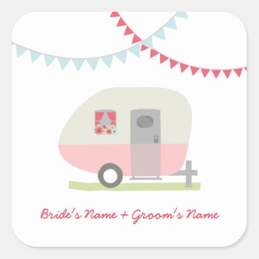 Pink Retro Trailer Wedding Sticker