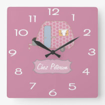 Pink Retro Vintage Caravan Design Square Wall Clock