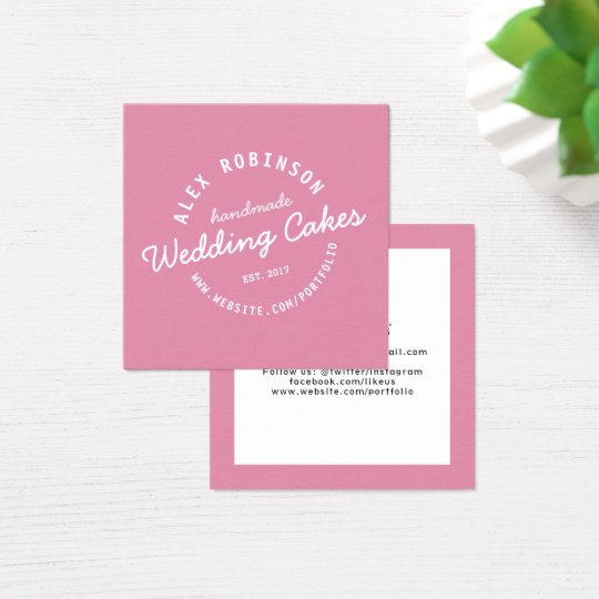 Pink retro wedding cake bakery business card
