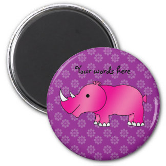 Pink rhino purple flowers magnet