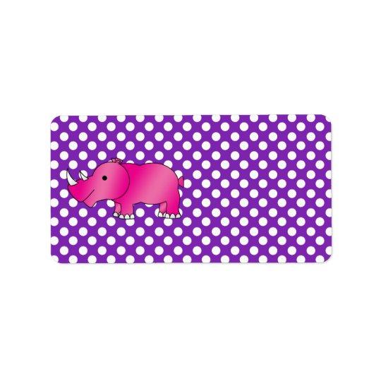 Pink rhino purple white polka dots address label