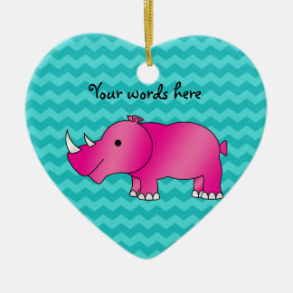 Pink rhino turquoise chevrons christmas ornament