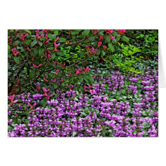 """PINK RHODODENDRON AND PURPLE AZALEAS"" NOTECARD NOTE CARD"