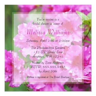 Pink Rhododendron Bridal Shower Card