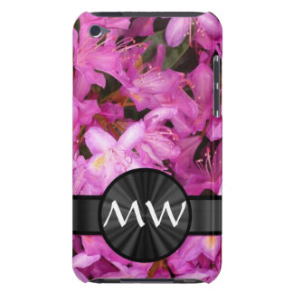 Pink Rhododendron flowers monogram Barely There iPod Case