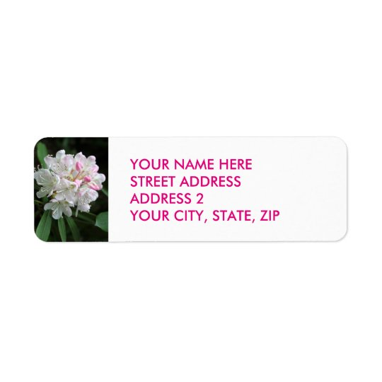 Pink Rhododendron Four-Line Address Labels