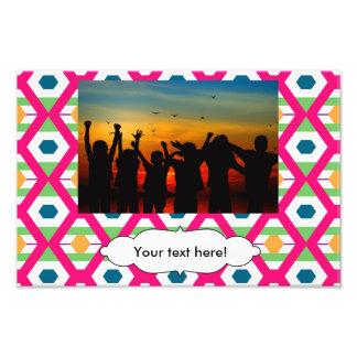 Pink rhombus pattern photo print