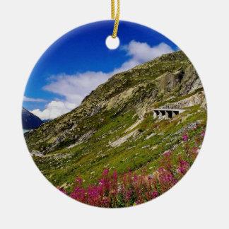 Pink Rhone Glacier cuts through the Burnese Alps f Christmas Ornament