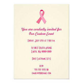Pink Ribbon 14 Cm X 19 Cm Invitation Card