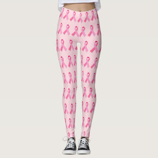 Pink Ribbon Alternating Pattern on Light Pink Leggings
