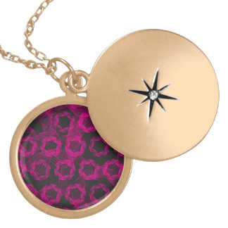 pink ribbon and black background round locket necklace
