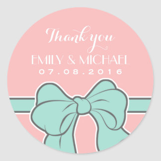 Pink Ribbon and Bow Wedding Thank You Sticker