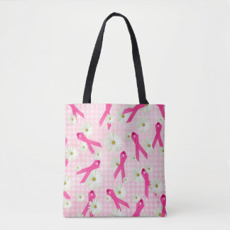 pink ribbon and daisies on gingham tote bag