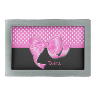 Pink Ribbon and Polka Dots Belt Buckles