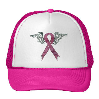 pink ribbon and wings cap