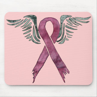 pink ribbon and wings mosue pad mouse mat