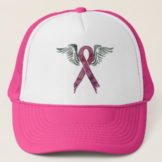 pink ribbon and wings trucker hat
