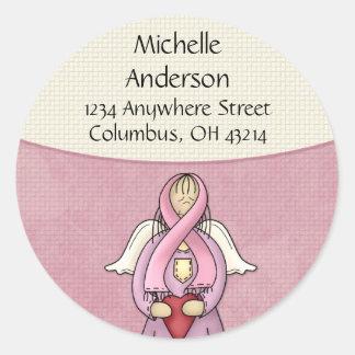 Pink Ribbon Angel D1 Return Address Labels Round Sticker
