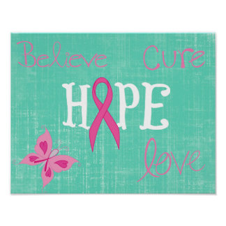 Pink Ribbon Awareness Inspirational Words Poster
