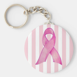 Pink Ribbon Basic Round Button Key Ring