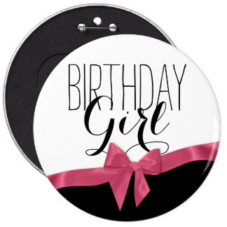 Pink Ribbon Bow Birthday Girl 6 Cm Round Badge