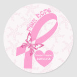 Pink Ribbon Breast cancer awareness Round Sticker