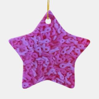 Pink Ribbon breast cancer awareness sprinkles Ceramic Star Decoration