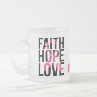Pink Ribbon Breast Cancer Hope Faith Love Frosted Glass Coffee Mug