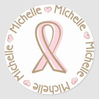 Pink Ribbon Breast Cancer Name Michelle Round Sticker