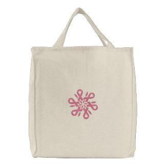 Pink Ribbon Breast Cancer Snowflake Bag Embroidered Bag