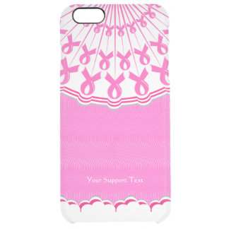 Pink Ribbon Breast Cancer Support Clear iPhone 6 Plus Case