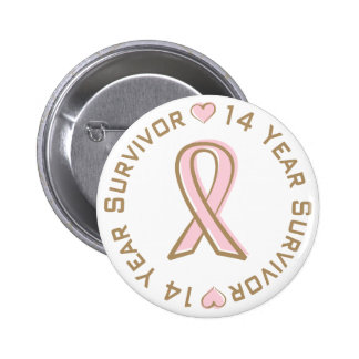 Pink Ribbon Breast Cancer Survivor 14 Years 6 Cm Round Badge