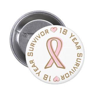 Pink Ribbon Breast Cancer Survivor 18 Years 6 Cm Round Badge