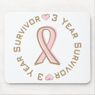 Pink Ribbon Breast Cancer Survivor 3 Years Mouse Mat
