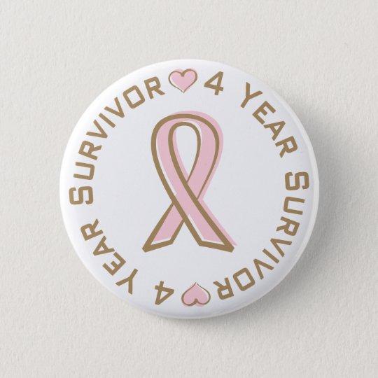 Pink Ribbon Breast Cancer Survivor 4 Years 6 Cm Round Badge
