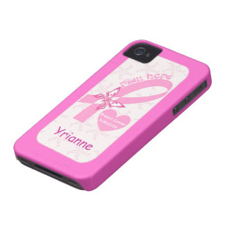 Pink Ribbon Breast cancer survivor hot pink custom iPhone 4 Case