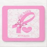 Pink Ribbon Breast cancer survivor & pink border Mouse Mat