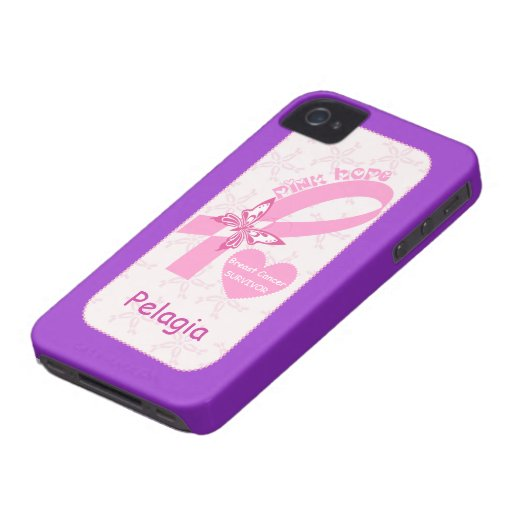 Pink Ribbon Breast cancer survivor purple custom iPhone 4 Case-Mate Cases