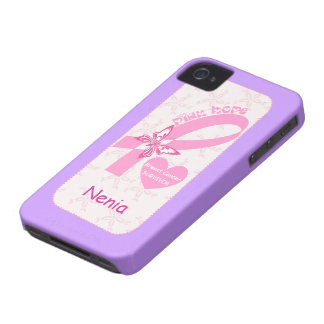 Pink Ribbon Breast cancer survivor purple custom iPhone 4 Case