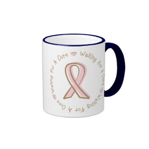 Pink Ribbon Breast Cancer Walking For A Cure Mugs