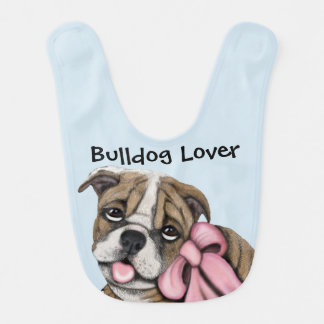 Pink Ribbon Bulldog Puppy Baby Bib
