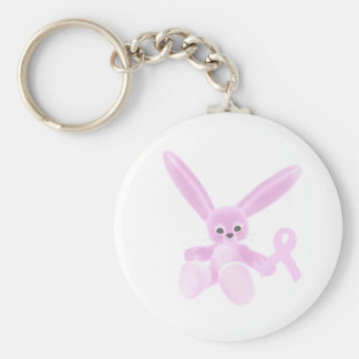 Pink Ribbon Bunny Basic Round Button Key Ring