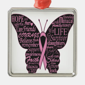 Pink Ribbon Butterfly Christmas Tree Ornament