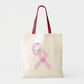 Pink Ribbon Butterfly Canvas Bags