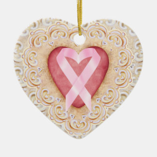 Pink Ribbon Cancer Ribbon #2 From the Heart - SRF Ceramic Heart Decoration
