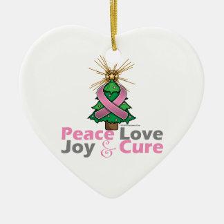 Pink Ribbon Christmas Peace Love, Joy & Cure Ceramic Heart Decoration