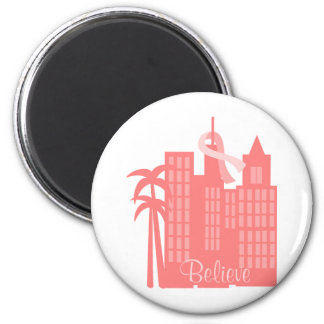 Pink Ribbon Cityscape 6 Cm Round Magnet