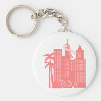 Pink Ribbon Cityscape Basic Round Button Key Ring